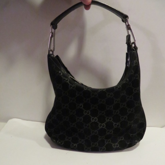 4eb789b00e8 Gucci Handbags - GUCCI BLACK SUEDE MONOGRAM GG WEBPRINT LEATHER BAG